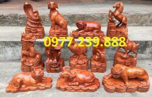 bán bộ tượng 12 con giáp gỗ