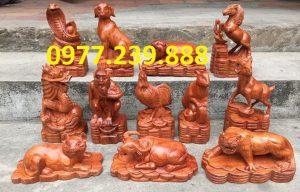 bán bộ tượng 12 con giáp gỗ hương