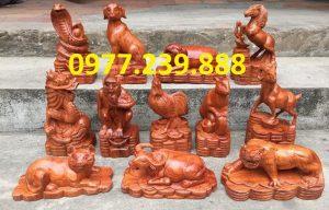 bán bộ tượng con giáp gỗ hương đá