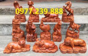 bán bộ tượng con giáp gỗ hương đỏ