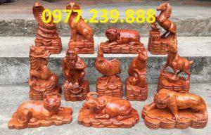 bán bộ tượng con giáp gỗ hương