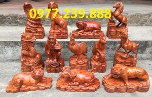 bán bộ tượng con giáp gỗ hương lào