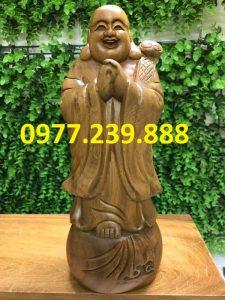 bán di lặc chúc phúc bằng gỗ bách xanh 50cm