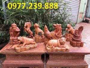 bán tượng 12 con giáp bằng gỗ hương đá
