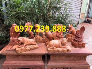 bán tượng 12 con giáp bằng gỗ hương