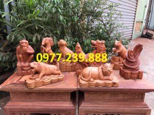 bán tượng 12 con giáp bằng gỗ hương lào