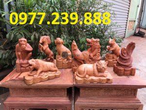 bán tượng 12 con giáp bằng gỗ hương nam phi