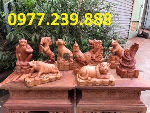 bán tượng 12 con giáp bằng gỗ hương ta