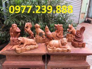 bán tượng 12 con giáp bằng gỗ hương việt