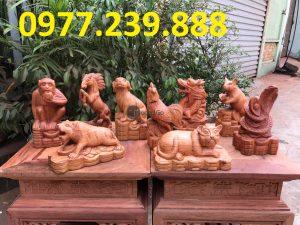 bán tượng 12 con giáp gỗ