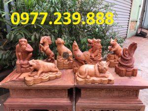 bán tượng 12 con giáp gỗ hương