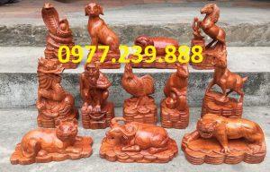 bán tượng 12 con giáp gỗ hương ta
