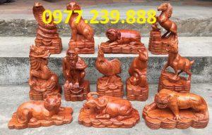 bán tượng 12 con giáp hương đỏ