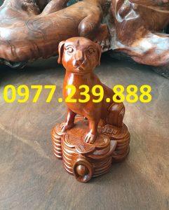 bán tượng chó bằng gỗ hương nam phi