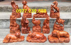 bán tượng con giáp gỗ hương đỏ