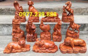 bán tượng con giáp gỗ hương giá rẻ