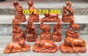bán tượng linh vật 12 con giáp gỗ hương