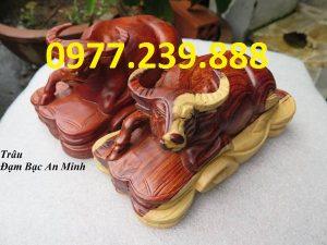 bán tượng trâu bằng gỗ hương 20cm