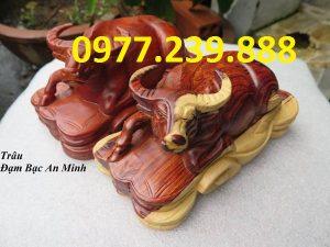 bán tượng trâu gỗ hương lào