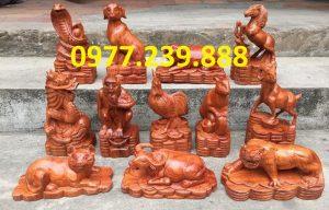 bộ tượng 12 con giáp bằng gỗ hương đá