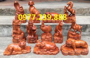 bộ tượng 12 con giáp bằng gỗ hương đỏ