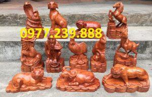 bộ tượng 12 con giáp bằng gỗ hương