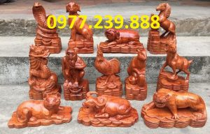 bộ tượng 12 con giáp bằng gỗ hương lào