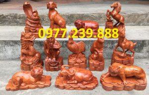 bộ tượng 12 con giáp bằng gỗ hương nam phi