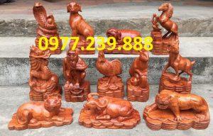 bộ tượng 12 con giáp bằng gỗ hương ta