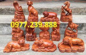 bộ tượng 12 con giáp bằng gỗ hương việt
