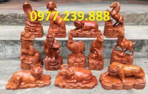 bộ tượng 12 con giáp gỗ hương 30cm