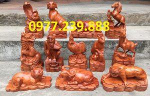 bộ tượng 12 con giáp gỗ hương dài 20cm
