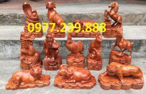 bộ tượng 12 con giáp hương đá