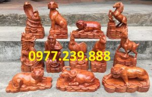 bộ tượng 12 con giáp hương nam phi