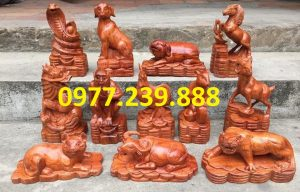 bộ tượng con giáp gỗ hương đá