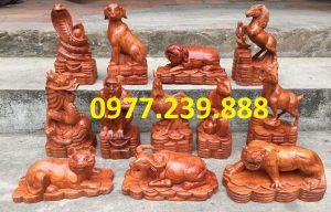 bộ tượng con giáp gỗ hương đỏ