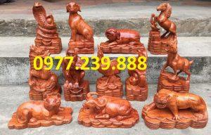 bộ tượng con giáp gỗ hương