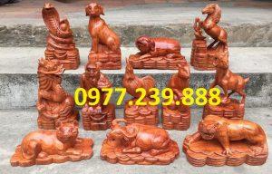 bộ tượng con giáp gỗ hương việt