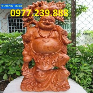 ban tuong phat di lac ganh dao cuoi ca chep bang go huong
