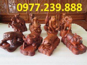 tượng 12 con giáp bằng gỗ hương đá
