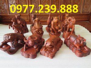 tượng 12 con giáp bằng gỗ hương đỏ