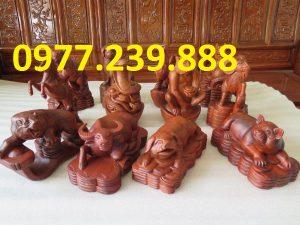tượng 12 con giáp bằng gỗ hương