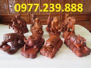 tượng 12 con giáp bằng gỗ hương nam phi