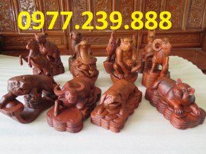 tượng 12 con giáp bằng gỗ hương ta