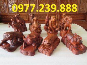 tượng 12 con giáp bằng gỗ hương việt