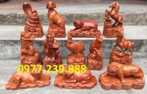 tượng 12 con giáp gỗ hương đá