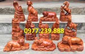 tượng 12 con giáp gỗ hương đỏ