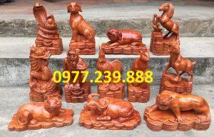 tượng 12 con giáp gỗ hương
