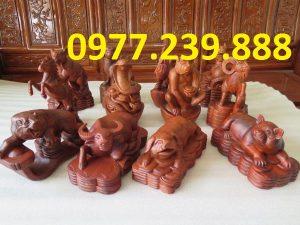 tượng 12 con giáp gỗ hương giá gốc
