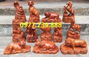 tượng 12 con giáp gỗ hương lào